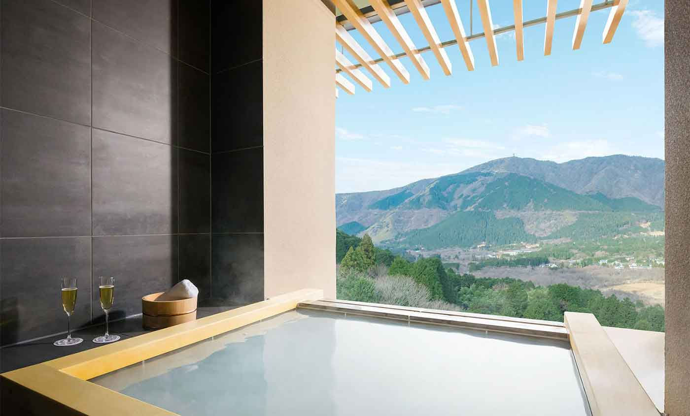Hot springs on every balcony of this forest retreat
